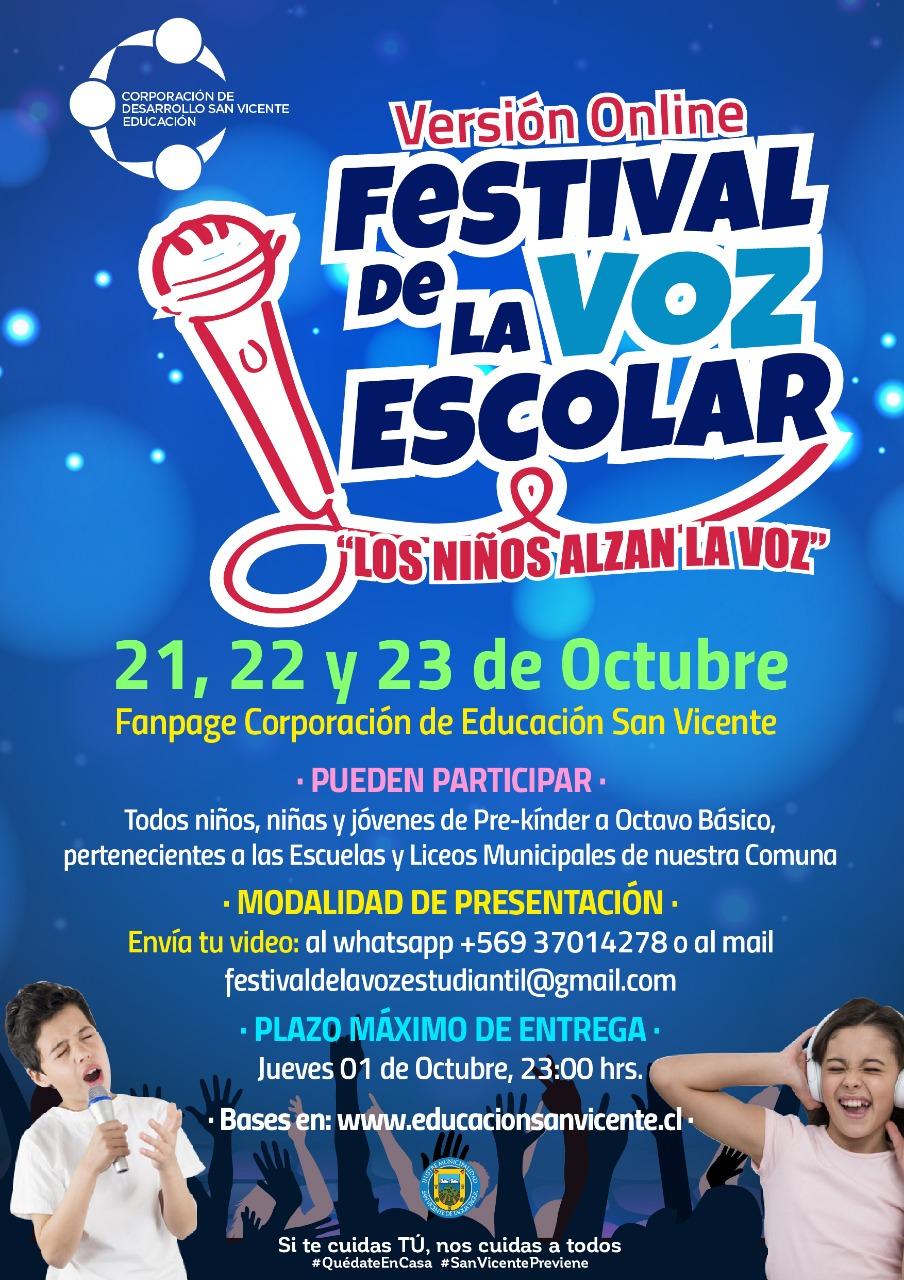 """BASES FESTIVAL ESTUDIANTIL: """"LOS NIÑOS ALZAN LA VOZ"""""""
